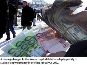 A money-changer in Kosovo