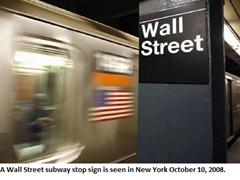 Wall Street subway stop sign