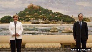 Angela Merkel and Wen Jiabao