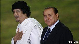 Gaddafi visits Italy