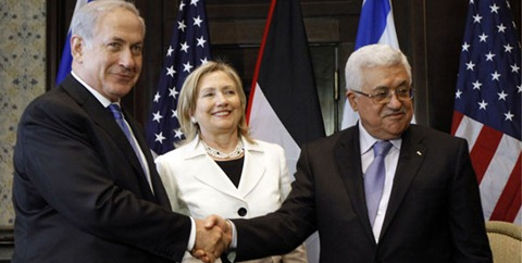 Netanyahu shakes hand with Abbas as Clinton watches
