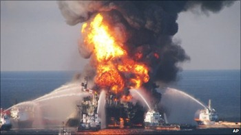 Oil rig explosion in Gulf of Mexico